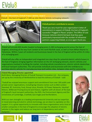 EValu8 E-Newsletter, EValu8 Project Update, Issue 2 EValu8   the East of England s 7,500 sq mile Electric Vehicle rechar