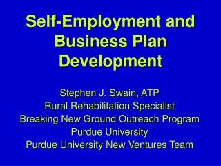 Self-Employment and Business Plan Development