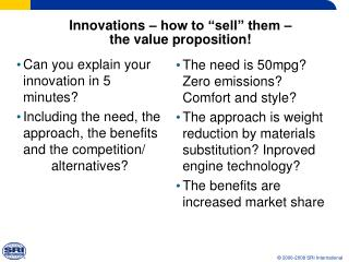Innovations   how to  sell  them    the value proposition