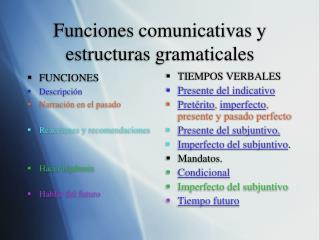 Funciones comunicativas y estructuras gramaticales