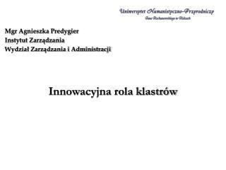 Innowacyjna rola klastr w