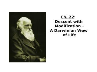 Ch. 22:   Descent with  Modification - A Darwinian View  of Life