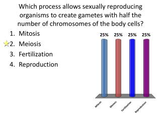 Which process allows sexually reproducing organisms to create gametes with half the number of chromosomes of the body ce