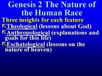Genesis 2 The Nature of the Human Race