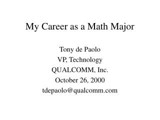 My Career as a Math Major