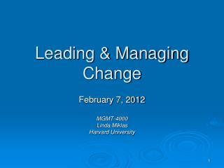 Leading  Managing Change