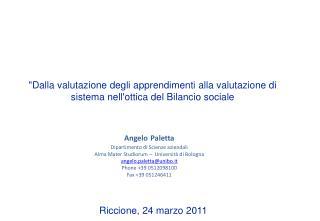 Angelo Paletta  Dipartimento di Scienze aziendali Alma Mater Studiorum    Universit  di Bologna angelo.palettaunibo.it P