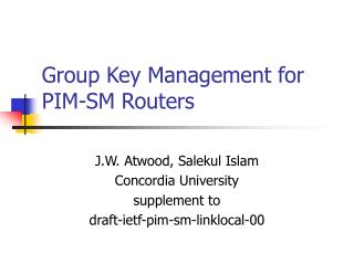 Group Key Management for PIM-SM Routers