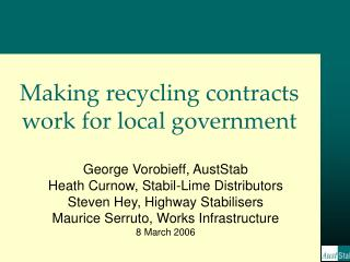 Making recycling contracts work for local government