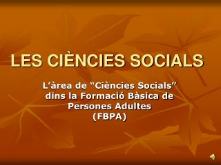 LES CI NCIES SOCIALS