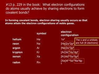 13 p. 229 in the book:  What electron configurations  do atoms usually achieve by sharing electrons to form  covalent bo