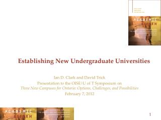 Establishing New Undergraduate Universities