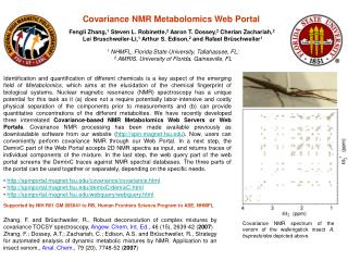 Covariance NMR Metabolomics Web Portal