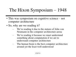 The Hixon Symposium   1948