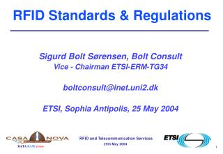 RFID Standards  Regulations