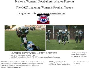 National Women s Football Association Presents  The OKC Lightning Women s Football Tryouts