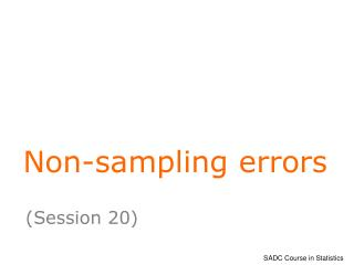 Non-sampling errors