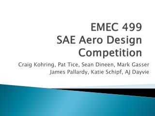 EMEC 499  SAE Aero Design Competition