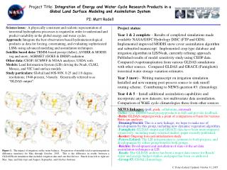 Project Title: Integration of Energy and Water Cycle Research Products in a  Global Land Surface Modeling and Assimilati