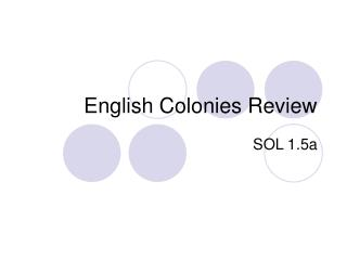 English Colonies Review