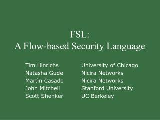 FSL: A Flow-based Security Language