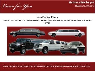 Toronto Limo Rentals, Toronto Limo Prices,Toronto Limousine