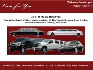 Toronto Limo Rentals Wedding, Toronto Limo Prices Wedding ,T