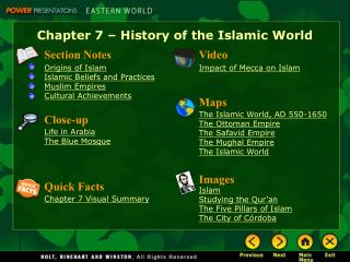 Chapter 7   History of the Islamic World