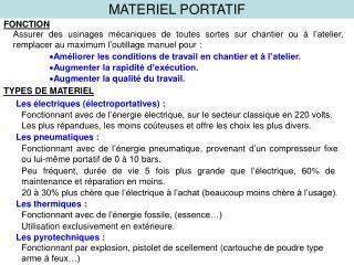 MATERIEL PORTATIF