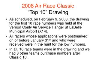 2008 Air Race Classic  Top 10  Drawing