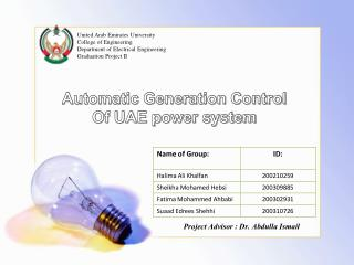 Automatic Generation Control  Of UAE power system