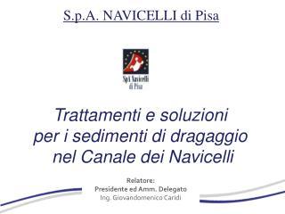 Trattamenti e soluzioni  per i sedimenti di dragaggio  nel Canale dei Navicelli