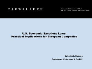 U.S. Economic Sanctions Laws:  Practical Implications for European Companies