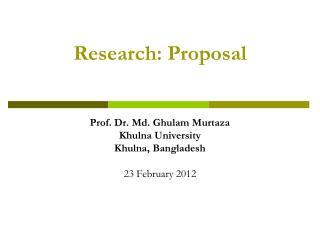 Research: Proposal
