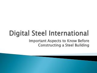 Digital Steel International: Important Aspects to Know Befor
