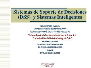 Sistemas de Soporte de Decisiones DSS  y Sistemas Inteligentes