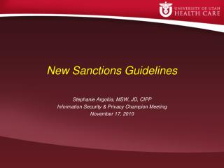 New Sanctions Guidelines