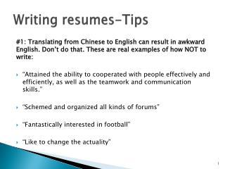 Writing resumes-Tips