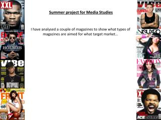 Summer project for Media Studies
