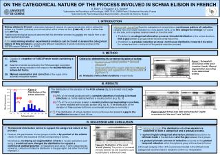 ON THE CATEGORICAL NATURE OF THE PROCESS INVOLVED IN SCHWA ELISION IN FRENCH  A. B rki  , C. Fougeron   C. Gendrot    La