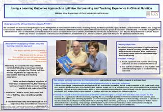 Using a Learning Outcomes Approach to optimise the Learning and Teaching Experience in Clinical Nutrition   M ir ad Kiel