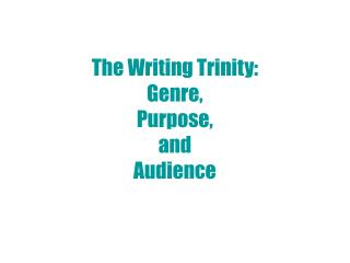 The Writing Trinity: Genre, Purpose, and  Audience