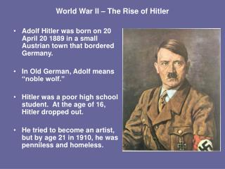 World War II   The Rise of Hitler