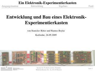 Institut f r Technik und ihre Didaktik  Wilhelm-Klemm-Str. 10, 48149 M nster