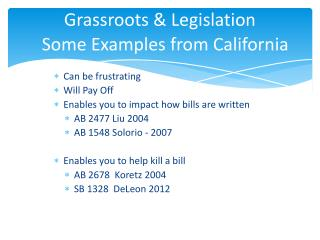 Grassroots  Legislation