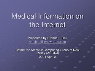 Medical Information on the Internet