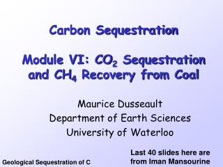 Carbon Sequestration   Module VI: CO2 Sequestration and CH4 Recovery from Coal