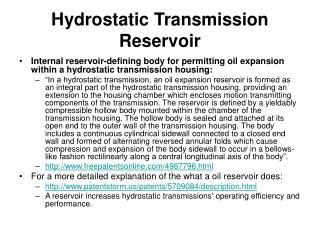 Hydrostatic Transmission Reservoir
