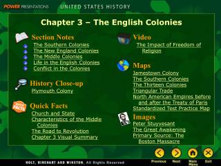 Chapter 3   The English Colonies