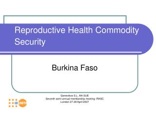 Reproductive Health Commodity Security